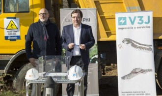 El presidente de Fundación Phi, Félix Balboa y el Presidente de la Junta de Extremadura, Guillermo Fernández Vara