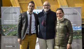 Sergio Vicente Alfonso, Director de Ejecución Material, Félix Balboa, Presidente de Fundación Phi y Emma Martínez Pérez de Nanclares, Arquitecta y Directora de Obra